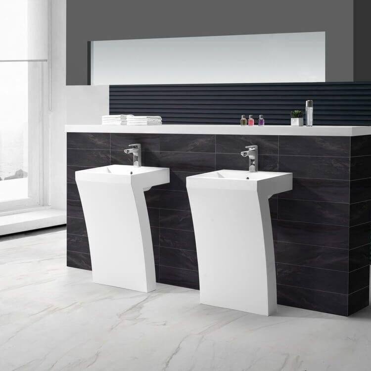 23 7 Shape White Freestanding Minimalist Bathroom Vanity