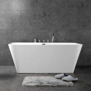 Carnival Baignoire acrylique autoportante avec bec de bain douche, douchette et drain chromé
