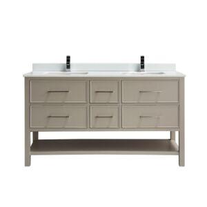 Fiory Vanité de salle de bain de 60po - Comptoir en verre blanc